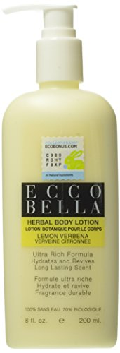 Ecco Bella Natural & Organic Lemon Verbena Herbal Body Lotion, 8-ounce bottle