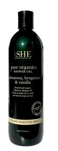 Om She Aromatherapy Palmarosa, Bergamot & Vanilla Pure Organics Shower Gel 16.9 oz