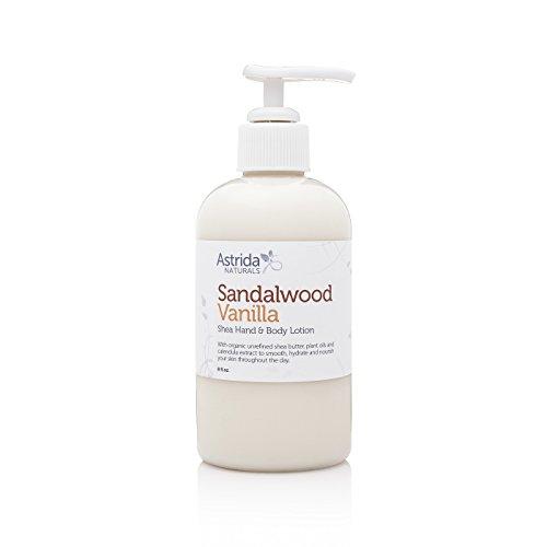 Sandalwood Vanilla Shea Butter Hand & Body Lotion with Organic Fair Trade Shea Butter