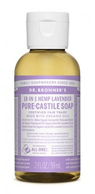 Dr. Bronner's Fair Trade and Organic Castile Liquid Soap, Lavender, 2 Fluid Ounce