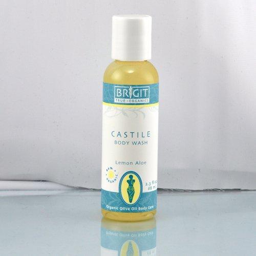 Brigit True Organics- LEMON ALOE Castile Body Wash, 2.3 fl. oz. (86% ORGANIC)