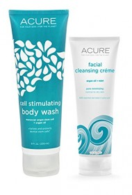 Acure Organics All Natural Argan Oil and Mint Face Wash Cleanser and Cell Stimulating Natural Body Wash Bundle