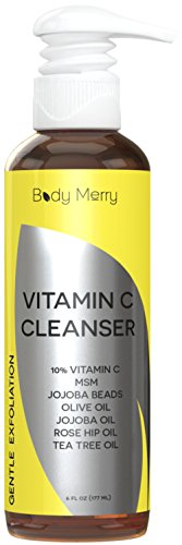10% Vitamin C Facial Cleanser – Daily Anti-Aging Face Wash to Unclog Pores & Deep Clean Dirt, Oil & Grime – Packed with Jojoba + Best Natural Rosehip & Tea Tree Oils to help with Acne – by Body Merry