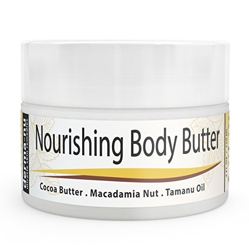 Body Butter Organic – Moisturizer for Dry Skin – Best Massage Cream, Treatment for Sun Damaged Skin & Winter Skin. Skin Hydrating Booster – Cocoa Butter, Macadamia Nut Oil, Tamanu Oil & Aloe – 4oz