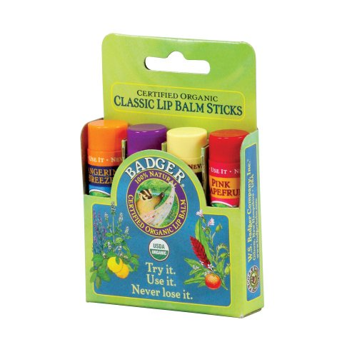 Badger Classic Lip Balm 4-Pack – Green