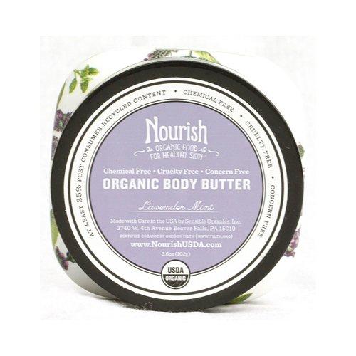 Organic Body Butter, Lavender & Mint, 3.6oz