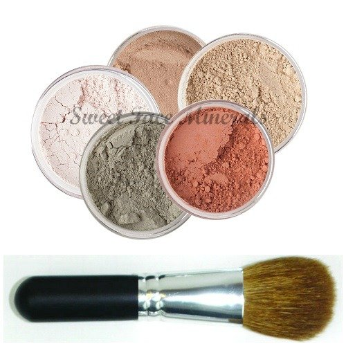5 pc. KIT w/ FACE BRUSH Mineral Makeup Set Full Size Powder Bare Skin Foundation (Warm)
