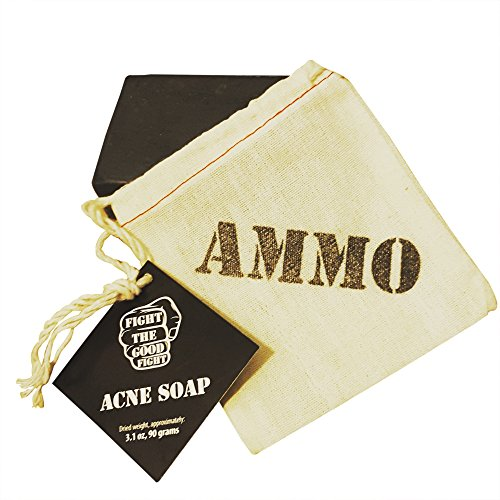 Organic Acne Soap 2 Pack By Fight The Good Fight Ammo. All Natural Organic Face & Body Bar Soap With Pure Activated Charcoal for Men, Women & Teens