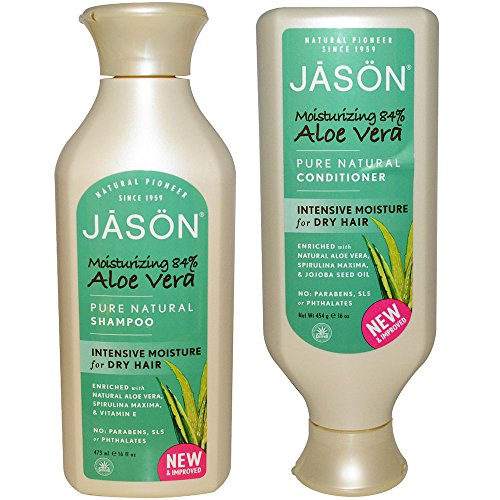 JASON All Natural Organic Aloe Vera Shampoo and Conditioner Bundle with Dry Hair Treatment Product, Calendula, Chamomile and Grapefruit, Sulfate Free, Paraben Free, Gluten Free, Vegan, 16 fl oz each