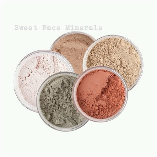 Sweet Face Minerals 5 Pc Kit Mineral Makeup Set Bare Skin Sheer Powder Concealer Corrector Blush Foundation Cover (Warm (most popular))