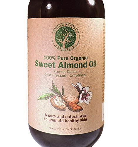Sweet Almond Oil, 100% USDA Organic Cold Pressed, 8 oz. Moisturizing Oil for Skin – Nourishing and Reviving Any Skin Type. Natural Skin Care for Homemade Beauty Care