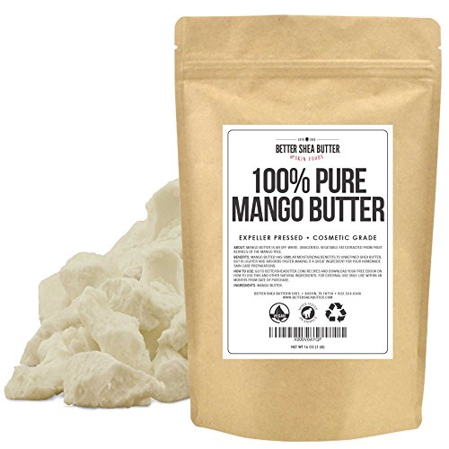 Pure Mango Butter by Better Shea Butter – Expeller Pressed, Cosmetic Grade – Unscented, Smooth, Moisturizing, Vegan – Can be Used as a Lighter Alternative to Unrefined Shea Butter – 1 LB (16 oz)
