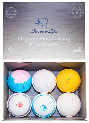 Bath Bombs by Serene Spa (Set of 6) – Proudly Handmade in the USA with Organic Moisturizing Shea Butter, Cocoa Butter & All Natural Essential Oils – Ultra Lush Aromatherapy Fizzies Set Makes Perfect Gift