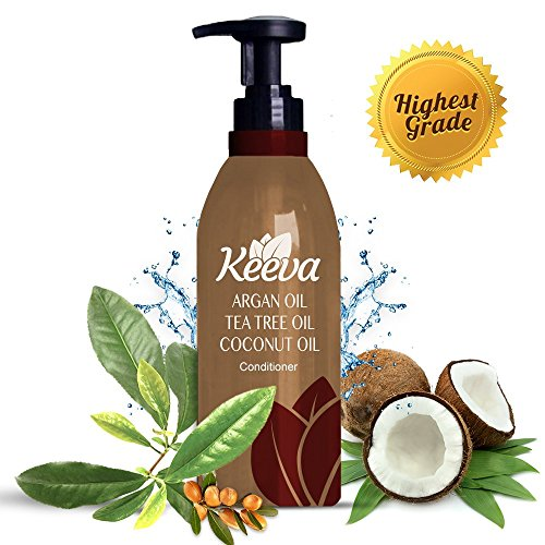 #1 Best Deep Organic Conditioner with Tea Tree Oil, Argan Oil and Coconut Oil 3-in-1 Formula by Keeva – 100% Natural Ingredients – Perfect for Moisturizing Damaged, Dry, Curly, Color Treated Hair