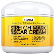 Stretch Marks & Scars Cream – Best for Stretch Mark Removal – Body Moisturizer for Prevention and Reduction of Old & New Scars – Natural & Organic for Pregnancy, After Birth, & Men – By Sieva Skincare