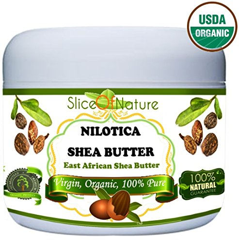 Organic Shea Butter Pure – Rare Nilotica East African Shea Butter Raw Unrefined By Slice Of Nature – Soft Silky Shea Butter for Hair Body Face 8 ounces