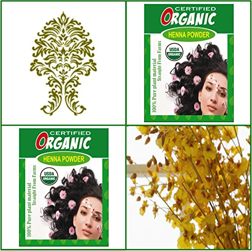 (Qty. 2) 100g Certified Organic Henna Powder for Hair Color Conditioning. Golden Brown Color.