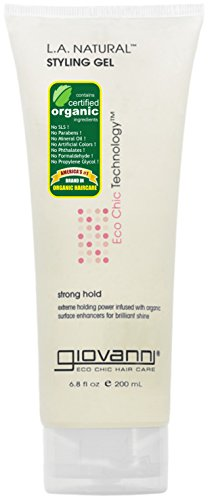 Giovanni Eco Chic Hair Care, L.A. Natural Styling Gel, Strong Hold, Packaging May Vary, 6.8-Ounce Tube  (Pack of 3)
