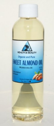 Sweet Almond Oil Organic Carrier Cold Pressed Refined 100% Pure 4 oz