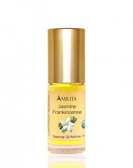 Amrita Aromatherapy: Organic Jasmine Frankincense Essential Oil Perfume, 100% Natural & Alcohol-Free (5ml – Roll On Applicator)