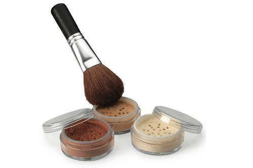 4 Pc kit with Brush Mineral Makeup Set Bare Skin Sheer Powder Full Size Foundation Cover (Cocoa)