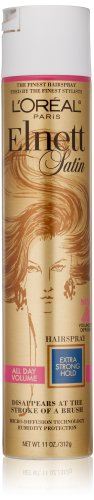L'Oreal Paris Elnett Satin Hairspray, Volume Extra Strong Hold, 11 Fluid Ounce