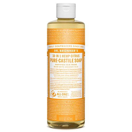 Organic Castile Liquid Soap Citrus Orange, 16 oz, Dr. Bronner's Magic Soaps