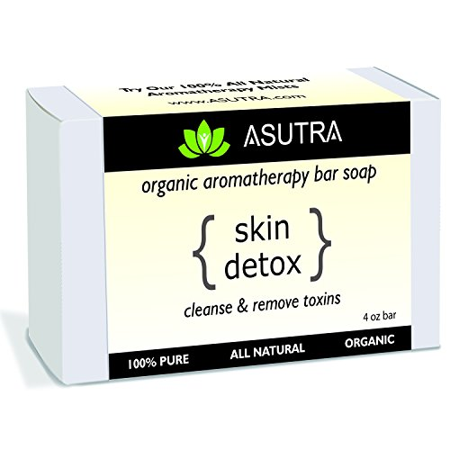 "Certified Organic Aromatherapy Bar Soap – ""SKIN DETOX"" – Cleanse & Remove Toxins – 100% Pure, Vegan, Natural, Powerful Essential Oil Blends + FREE Storage & Travel Soap Case (1pk /4 oz)"