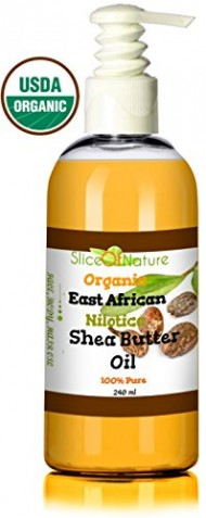 Organic Shea Butter Oil – Shea Oil Nilotica Rare East African Shea Butter Pure By Slice Of Nature – Natural Shea Butter Lotion, Shea Butter for Hair, Face, Body USDA Certified 8 ounces