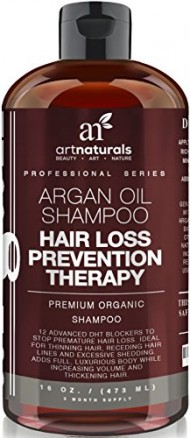 Art Naturals Organic Argan Oil Hair Loss Prevention Shampoo 16 Oz – Sulfate Free -Best Treatment for Premature Hair Loss, Thinning & First Signs of Balding for Men & Women- With Biotin 3 Months Supply