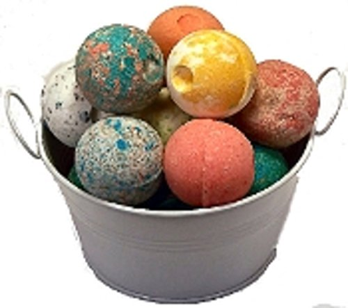 SPLENDEUR SPRING Bucket O'LUSCIOUS Bath Bomb Fizzes(12)-NEW Singly Wrapped-2″Diam-Pamper You-Gift-USA Handmade-QUALITY-Skin Moisturizer-ORGANIC-NATURAL-SHEA Butter-Coconut Oil+FREE Essential Oil Book!