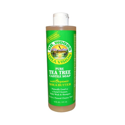 Dr. Woods Shea Vision Pure Tea Tree Castile Soap with Organic Shea Butter, 16-Ounce (Pack of 12)