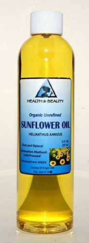 Sunflower Oil Unrefined Organic Carrier Cold Pressed Pure 8 oz