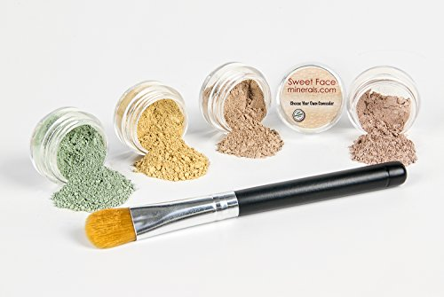 CONCEALER & CORRECTOR Kit with BRUSH *Choose Your Size and Concealer Shade* Mineral Makeup Set Bare Skin Face Foundation Powder (5 gram Sample Size Jars, Light Concealer)