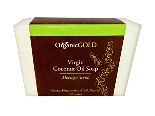 OrganicGOLD Organic Virgin Coconut Oil Soap & Body Scrub with Real Moringa Leaves is the Best Natural Exfoliant & Cleanser for Face & Body, Handmade