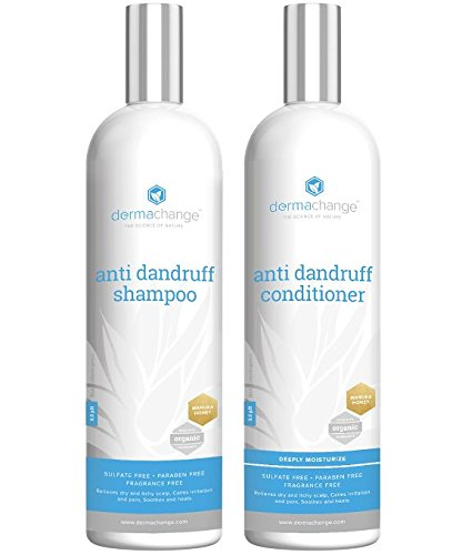 Organic Dandruff Shampoo and Conditioner Set – Sulfate Free – Anti-Dandruff – For Hair and Scalp – For Men and Woman – All Organic Treatment – Great for Psoriasis and Seborrheic Dermatitis – Contains All Organic Oils – Made in USA (8oz)