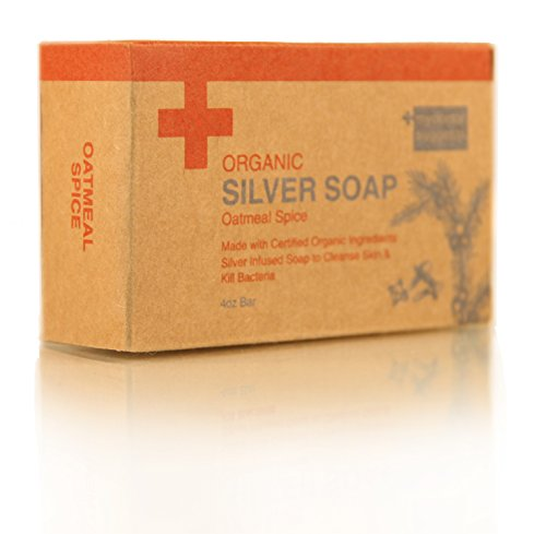 Organic Exfoliating Silver Soap – Made with Certified Organic Ingredients. Silver Infused Soap to Cleanse Skin & Kill Bacteria. Made with Real Oatmeal 4oz Bar