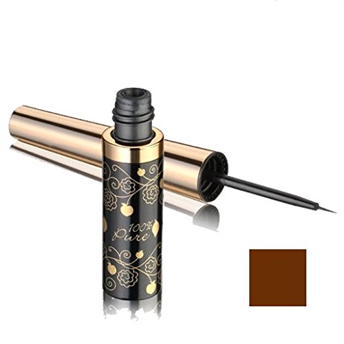 100% Pure: Dark Chocolate Long Last Liquid Eye Liner, 0.23 oz, All Natural, Organic Liquid Liner Richly Pigmented from Black Tea Leaves