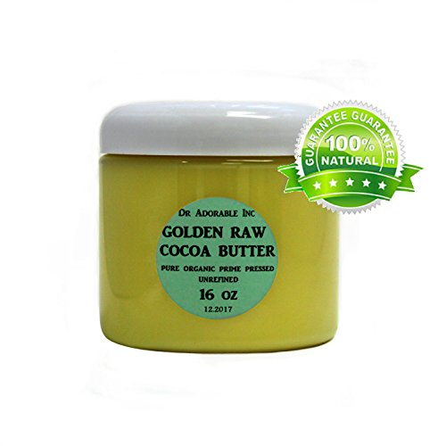 GOLDEN COCOA BUTTER ORGANIC RAW Grade A PRIME PRESSED UNREFINED 16 OZ/1 LB