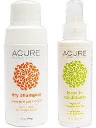 Acure Organics Argan Stem Cell and Argan Oil Dry Shampoo Powder and Leave In Conditioner Bundle