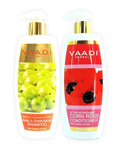 Amla with Shikakai and Reetha Shampoo and Corn Rose Conditioner – ★ Hair Fall and Damage Control Shampoo – ★ ALL Natural – ★ Paraben Free – ★ Sulfate Free – ★ Scalp Therapy – ★ Moisture Therapy – ★ Suitable for All Hair Types – Each Pack of 350ml – Each 11.8 Oz – Vaadi Herbals