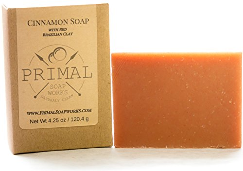 Spa Grade Natural Cinnamon Soap Bar | Red Brazilian Sea Clay | 100% Natural & Organic | Aligned with Primal & Paleo Lifestyle | Oversized | Great for Acne, Eczema, Psoriasis | For Women and Men