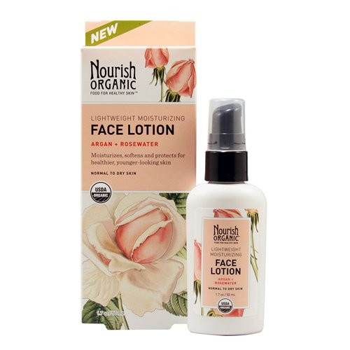 Nourish Organic Face Lotion, Argan and Rosewater, 1.7 Ounce