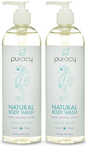 Puracy 100% Natural Body Wash – Sulfate-Free – THE BEST Shower Gel – Clinically Superior Ingredients – Developed by Doctors for Men & Women – Citrus Essential Oils & Sea Salt – Spa-Grade – 16 ounce (Pack of 2)