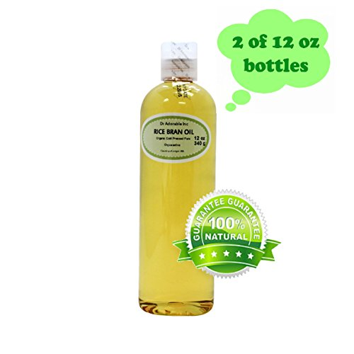 Rice Bran OIL Organic 100% Pure Cold Pressed by Dr.Adorable 24 Oz