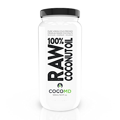 COCOMD World Exclusive 100% RAW Organic Virgin Coconut Oil 16 oz. State of the Art Extraction Retains Nutrients For Clear Skin & Healthy Hair. Whiten Teeth! Full Guarantee + Free Handcrafted Spoon.