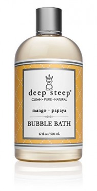 Deep Steep Mango Papaya Bubble Bath – Made with Organic Shea Butter, Organic Jojoba Oil, and 100% All Natural Ingredients – Sulfate Free – Vegan, Non-GMO, Gluten Free, and Cruelty Free, 17oz Bottle