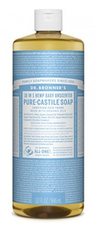 Dr. Bronner's Magic Soaps Pure-Castile Soap, 18-in-1 Hemp Unscented Baby Mild, 32-Ounce Bottle