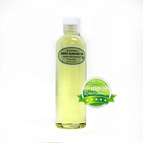 Sweet Almond Oil Organic Pure Cold Pressed by Dr.Adorable 12 Oz