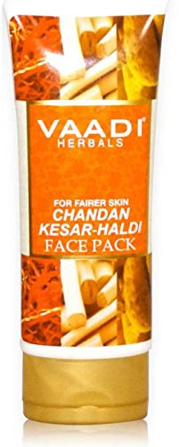 Chandan Kesar Haldi Fairness Face Pack – Herbal Face Pack – ALL Natural – Paraben Free – Sulfate Free – Suitable for Both Men and Women – Good for All Skin Types (Oily, Glowing, Dry, Normal, Combination, Sensitive) – 120gms (4.25 Ounces) – Vaadi Herbals